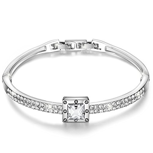"Menton Ezil""Snow White 925 Silver Made with Swarovski Crystals Bangle Bracelets CZ Diamonds Women Daily Jewelry with Cubic Zirconia Diamonds"