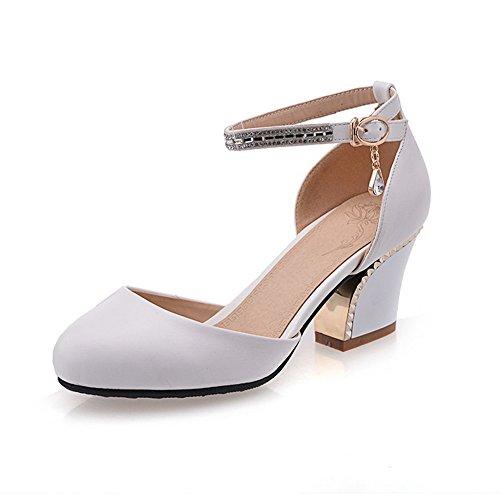 BalaMasa Womens Sandals Closed-Toe No-Closure Round-Toe Bridal Sandals ASL04655 White