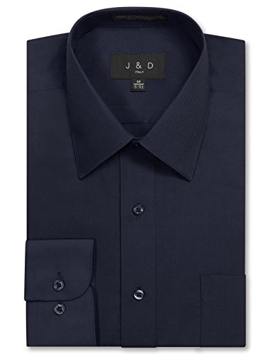 JD Apparel Mens Long Sleeve Regular Fit Solid Dress Shirt 15-15.5 N : 32-33 S Navy Charcoal