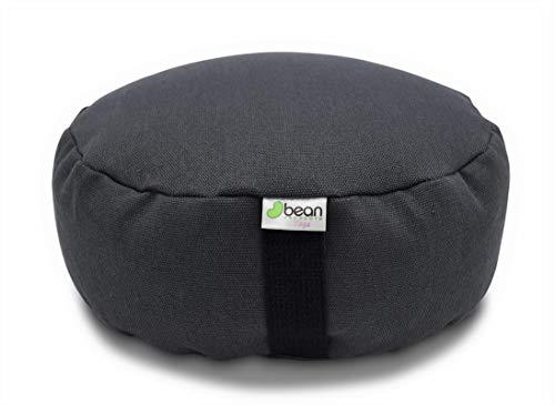 Bean Products Hemp Shadow Gray - Round Zafu Meditation Cushion - Yoga - Organic Buckwheat Fill - Made in USA