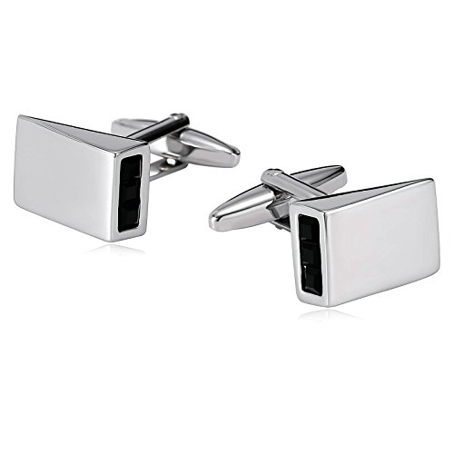 Silver Geometric Cufflinks Sterling (MoAndy Cuff Links for Men Stainless Steel Geometric Cone Engraved Crystal Silver Black)