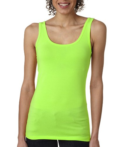Next Level Apparel Ladies Junior Fit Blended Jersey Tank Top. 3533 X-Small Neon Heather Green