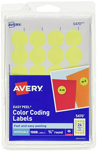 (Avery Round Color-Coding Labels 3/4 in, Neon Yellow, 1008/Pack -)