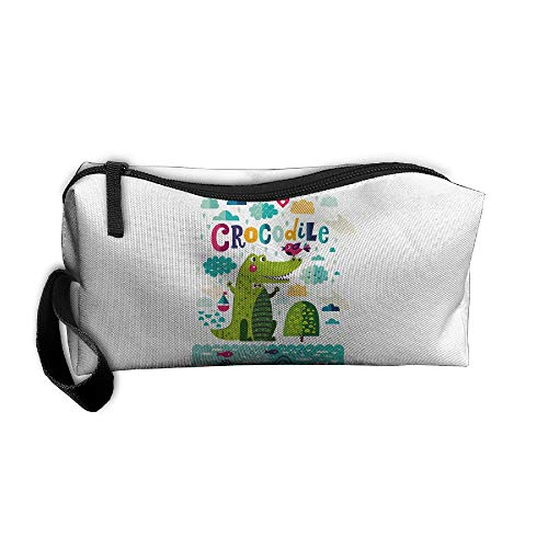 Cosmetic Bags With Zipper Makeup Bag Crocodile Swimming Middle Wallet Hangbag Wristlet Holder