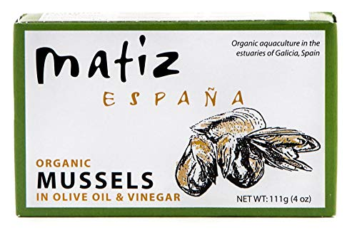 Matiz Espana Organic Mussels in Extra Virgin Olive Oil and Apple Cider Vinegar (2 tins of 4 oz.) From the Coast of Galicia, Spain ()