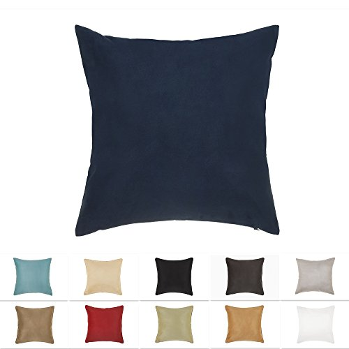 DreamHome 24 X 24 Inches Navy Color Faux Suede Decorative Pillow Cover, Throw Pillow Case with Hidden Zipper, Super Soft High Quality Faux Suede On Both Sides