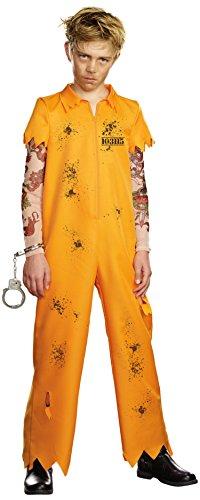 Convict Fancy Dress Costumes (Mischief & Mayhem Boys Escape Convict Costume, One Color, Medium, One Color, Medium)
