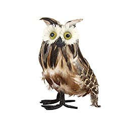 Fan-Ling Artificial Owl Simulation Foam Feather DIY Craft for Wedding Home Garden Party,Artificial Birds Model Outdoor Home Garden Lawn Tree Decor,Garden Yard Outdoor Indoor Art Crafts Decor (B)