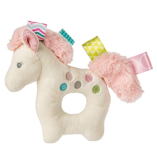 Taggies Sensory Stuffed Animal Soft Ring Rattle, Painted Pony, 5
