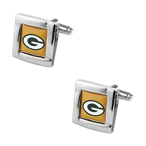 NFL Green Bay Packers Square Cufflinks with Square Shape Logo Design Gift Box Set