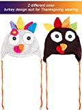 Tatuo 2 Pieces Thanksgiving Hats Turkey Knitted Hat Crochet Beanie Cap with Pigtail Braids for Baby Kids, 2 Colors