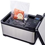 TINVOO SVC100S Sous Vide Water Oven Commercial Grade Kitchen Slow Cooker w/Patented H-B-C system with Rack, 800 Watts Sous Vide Immersion Circulator 10 Quart Sous Vide Container (Chef Series/Silver)