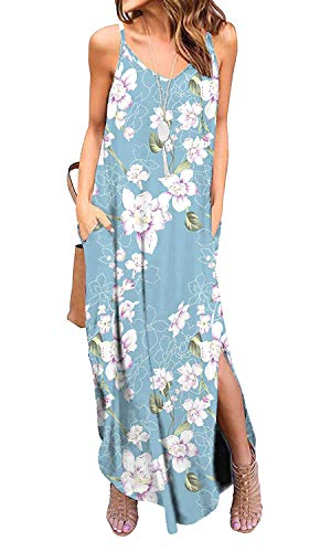 Silvous Women's Casual Loose Cami Long Summer Dress with Pocktes (CamiPeony -