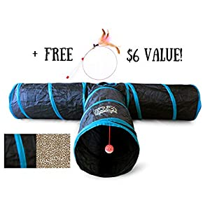 Feline Ruff Premium 3 Way Cat Tunnel. Extra Large 12 Inch Diameter and Extra Long. A Big Collapsible Play Toy. Wide Pet Tunnel Tube for Other Pets Too! 90