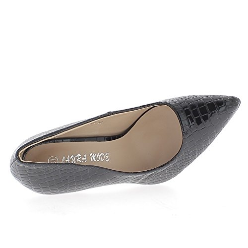Escarpins femme vernis noirs talon de 10,5cm pointus look croco