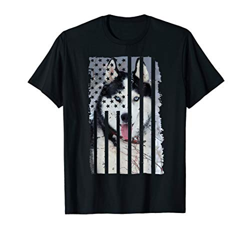 Cute Siberian Husky Dog Picture Puppy American US Flag Gift T-Shirt