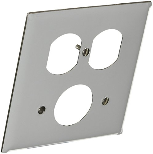 Hubbell Wiring Systems SS78 302/304 Stainless Steel Combination Wall Plate, 2 Gang, 1 Single Receptacle, 1 Duplex, 1-13/32