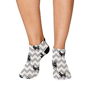 No Show Socks Alaskan Klee Kai Dog Gray Zigzag Polyester Ankle Socks Women & Men Crazy Fun Socks 1 Size 34