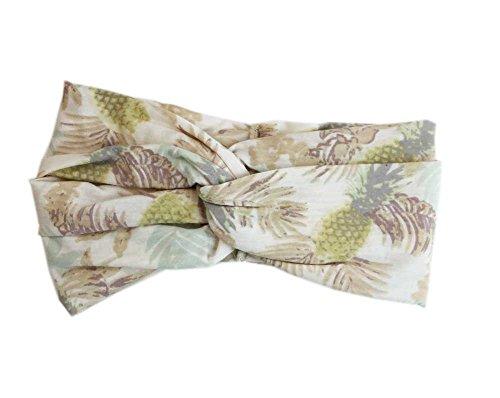 Aesthetinc Classic Tropical Pineapple Palm Tree Twist Wide Headband Headwrap (Ivory)