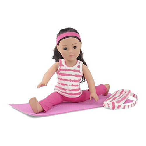 18-Inch-Doll-Clothes-Pink-and-White-Gymnastics-Yoga-Exercise-Outfit-Includes-Flared-Yoga-Pants-Animal-Print-T-Shirt-Yoga-Mat-and-Matching-Carry-Case-Fits-American-Girl-Dolls