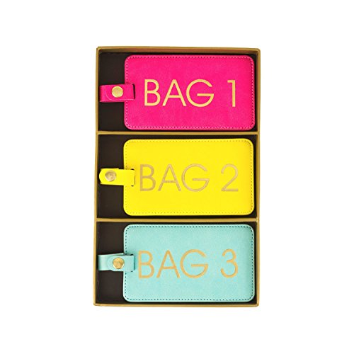 Eccolo World Traveler Luggage Tags, Set of 3, Bright's - Bag 1, 2, 3 (D917A)