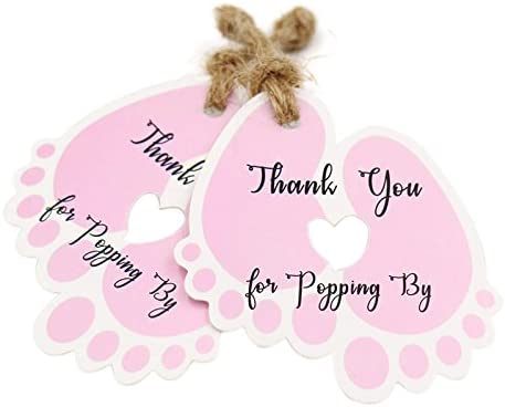 Original Design Thank You for Popping by Tags,Baby Shower Tags,100PCS Thank You Paper Gift Tags with 100 Feet Jute Twine 6×5.5 cm Pink