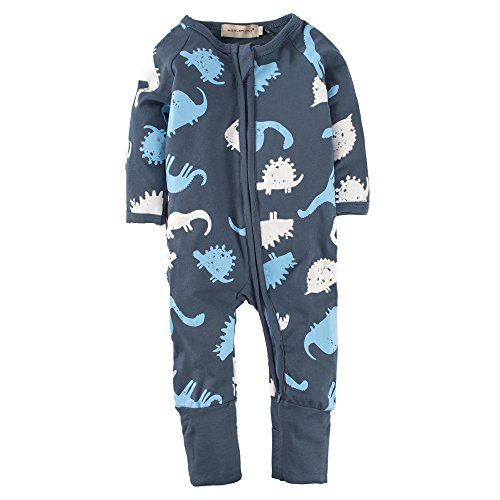 Big Elephant Baby Boys'1 Piece Long Sleeve Sleepwear Graphic Print Zipper Romper L18
