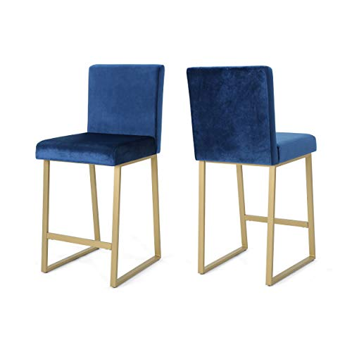 Christopher Knight Home 306433 Lexi Modern Velvet Barstools, Navy Blue and Brass (Set of 2),