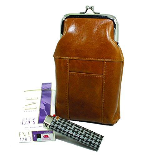 Womens Leather Cigarette Case & Lighter Holder Vintage Tan