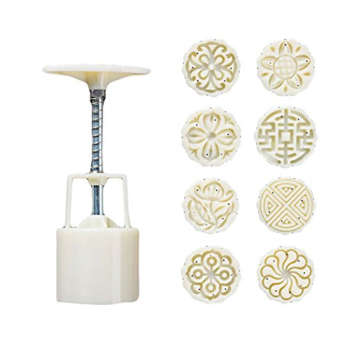 8 Stamps Moon Cake Mold Small Cake Mold Plastic Baking Mold 25G by Panda Superstore