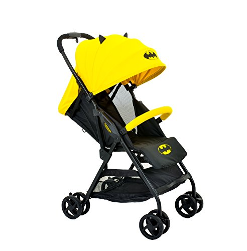 KidsEmbrace Batman Lightweight Compact Stroller, DC Comics Collapsable Stroller with Canopy, Yellow, 7701BATYL