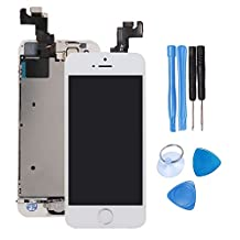 Ibaye LCD Display Touch Screen Digitizer Glass Lens with Camera and Home Button Assembly Repair Replacement for iPhone 5S with Tools White