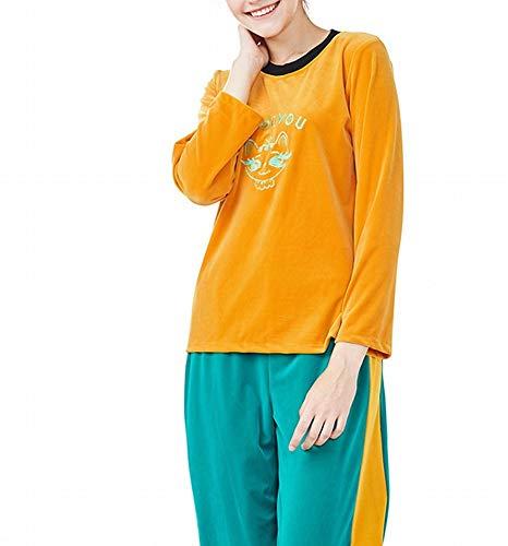 maniche casa per e testa vestiti DEED inverno della confortevole di e la pezzi lunghe a Evidenziatore colore per mantenere da due Autunno vestito a giallo pigiama Pigiama donna caldo velluto wx66qXvnUg