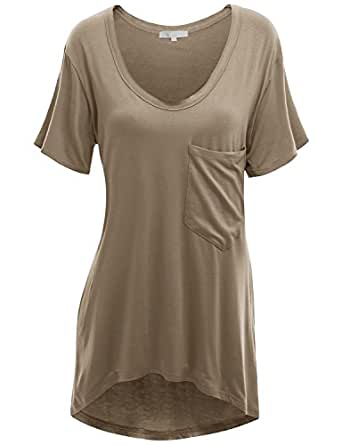 Doublju Deep V-Neck Oversized T-Shirt Dress With Chest Pocket For Women With Plus Size COCOA SMALL
