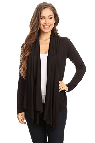 - Casual Long Sleeve Drape Front Open Jacket Cardigan/Made in USA Black M
