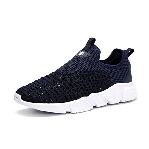 Homme Chaussure de Course Jogging Running Sneaker Chaussure de Sport sans Lacet en Textile Respirant Casuel Confortable Bleu kopa3cL