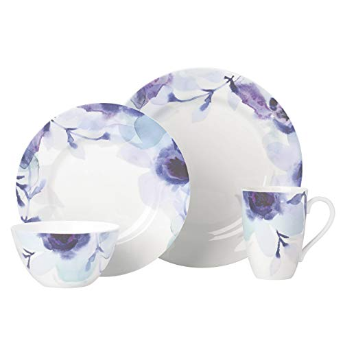 Porcelain Setting Place - Lenox 865655 Indigo Watercolor Floral 4 Piece Place Setting