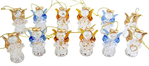 - Mini Colorful Spun Glass Guardian Angel Christmas Ornaments, Pack of 12, 1 3/4 Inch