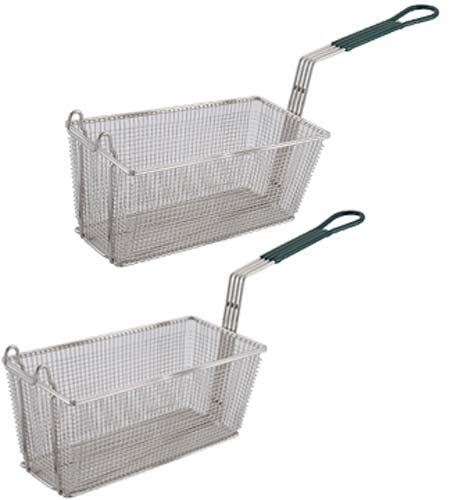 Culinary Depot FB-30 FB-30 Fryer Basket Set of-2 13-1 4 x 6-1 2 with Plastic Green Handle Kitchen Couture Sandwich Maker
