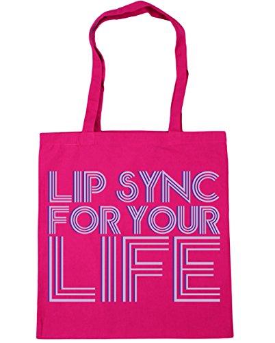 HippoWarehouse Lip sync for your life (pintalabios para la vida) Bolso de Playa Bolsa Compra Con Asas para gimnasio 42cm x 38cm 10 litros capacidad Fucsia