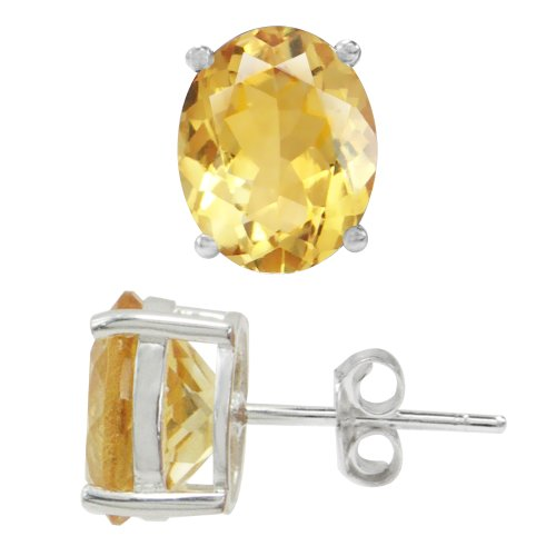 4.68ct. Natural Citrine 925 Sterling Silver Stud Earrings
