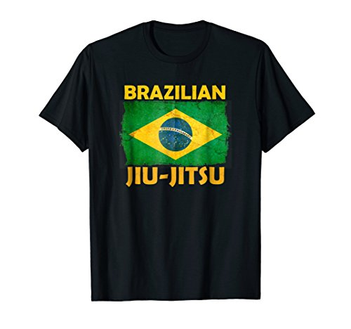 BJJ Shirt Brazilian Jiu Jitsu Distressed Flag Novelty Design]()
