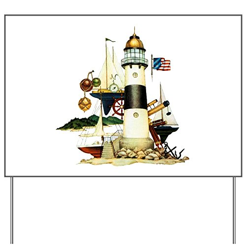 Yard Sign Nautical Lighthouse Telescope Anchor ()