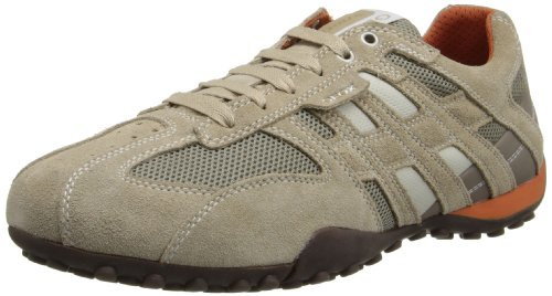 Geox Men's Snake Suede Fashion Sneaker,Beige/Orange,47 EU/13 M US