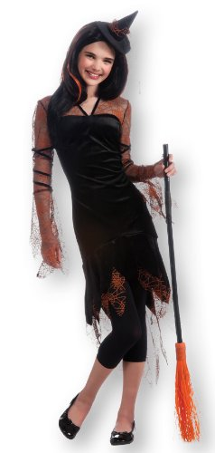 Rubie's Costume Orange Spider Witch Dress and Hat-Teen, Black/Orange, (Spider Dress Costume)