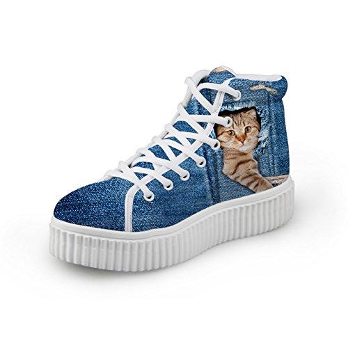 Showudesigns Blue Printed Animal Denim Cat Dog High Top Shoes Platform Sneakers color 3 IGcEV7