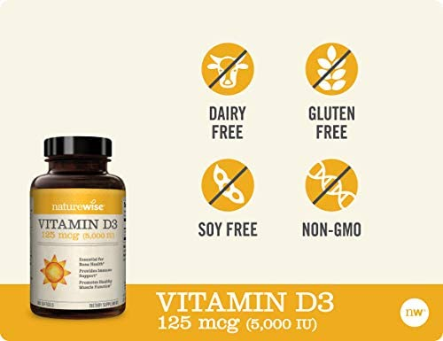 NatureWise Vitamin D3 5,000 IU (1 Year Supply) for Healthy Muscle Function, Bone Health, and Immune Support Non-GMO in Cold-Pressed Organic Olive Oil  Gluten-Free (Packaging May Vary) [360 Count] 6