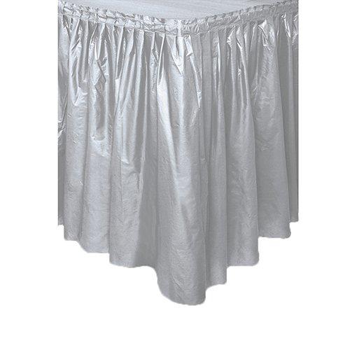 Silver Plastic Table Skirt ft