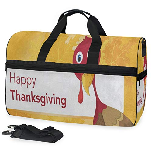 Duffle Bag Happy Halloween Maple Leaves Turkey Bird Gym Bag with Shoe Compartment Sport Bag for Men Women -