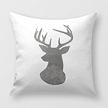 Deer Head Modern Ombre Watercolor Black And White Throw Pillow Cover for Sofa or Bedroom